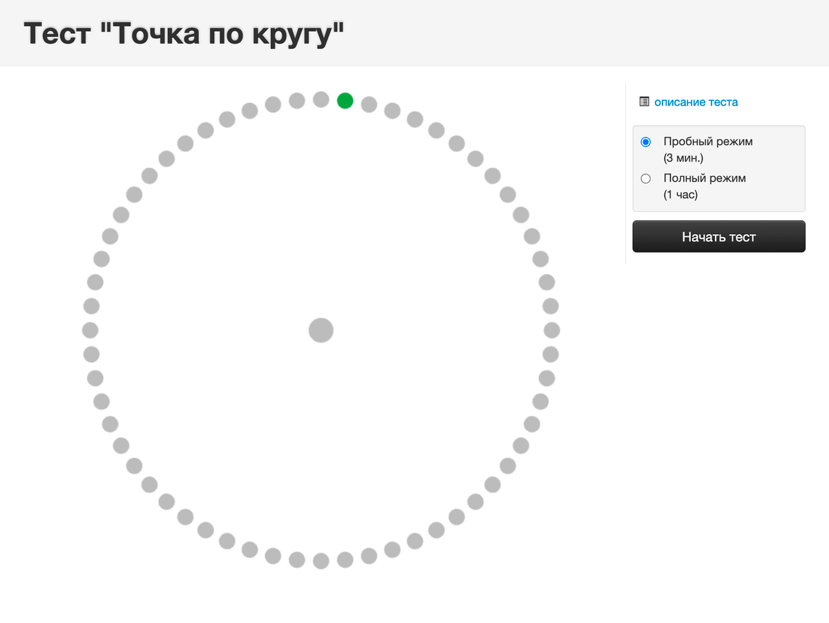 Целый час следить за зеленой точкой сложно: внимание понемногу рассеивается, но на то и расчет. Источник: testbrain.ru