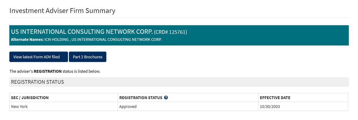 Из всех компаний с сайта ICN я нашел регистрацию только для US International Consulting NetworkCorp. — в базе данных публичных инвестиционных советников США
