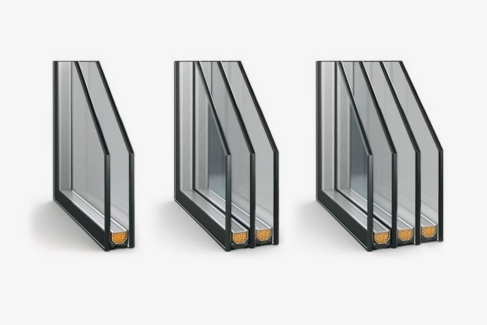 Примерная конструкция однокамерного, двухкамерного и трехкамерного стеклопакета. Фото: okno.ru