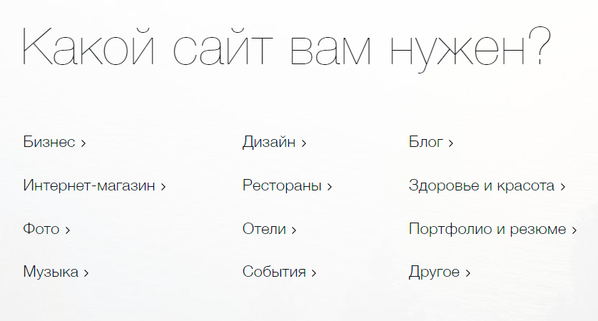 Неважно, какой тип сайта выбрать наэтом этапе, потому что«Викс» всеравно покажет вменю всесуществующие шаблоны икатегории