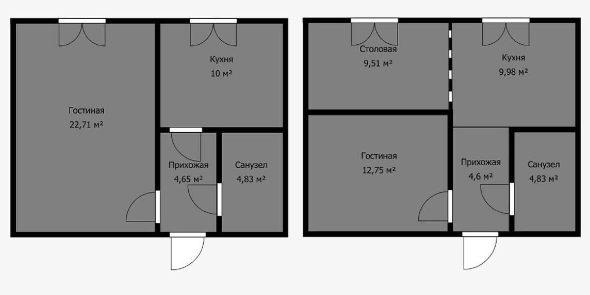 А вот разделить жилую комнату надвое и присоединить вторую часть к кухне можно. Только зону у окна предстоит назвать кабинетом или столовой