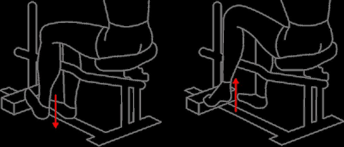 Первое упражнение — подъем на носки сидя. Нужно поставить носок больной ноги навозвышенность, например на стопку книг. Пятка приэтом может быть навесу иликасаться пола. Затем, неотрывая носок отопоры, нужно плавно поднимать пятку. Я делал упражнение три недели подряд: три-четыре раза вдень по пять-шесть минут