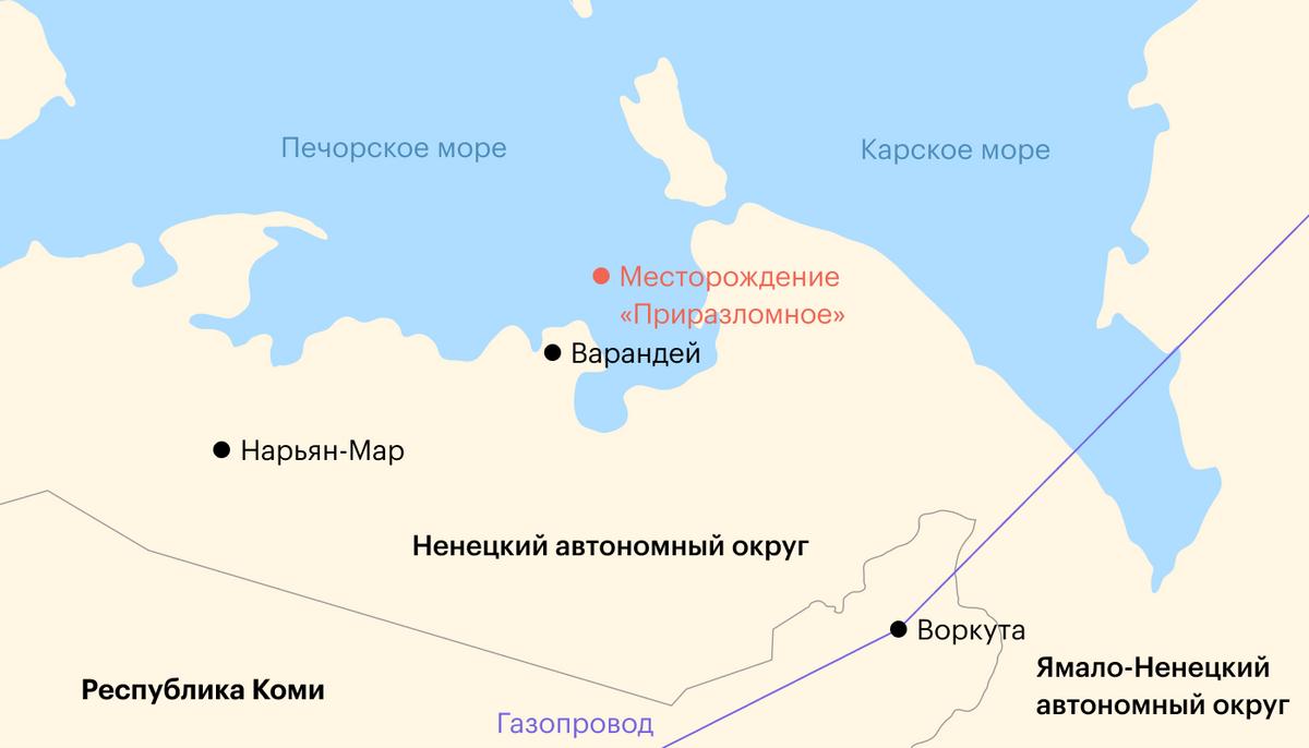 Географическое расположение платформы, которая находится в 60км от берега, на шельфе Карского моря. Источник: «Газпром»