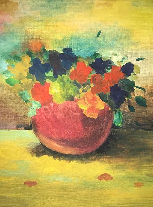 Цветы нарисованы гуашью, а фон — маслом