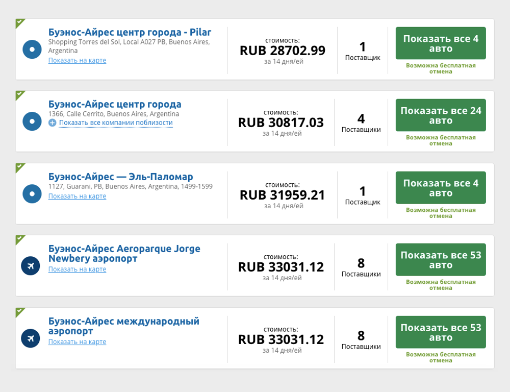 На агрегаторе «Ренталкарс» предложения на аренду авто в Буэнос-Айресе начинаются от&nbsp;28 703<span class=ruble>Р</span> за&nbsp;14&nbsp;дней