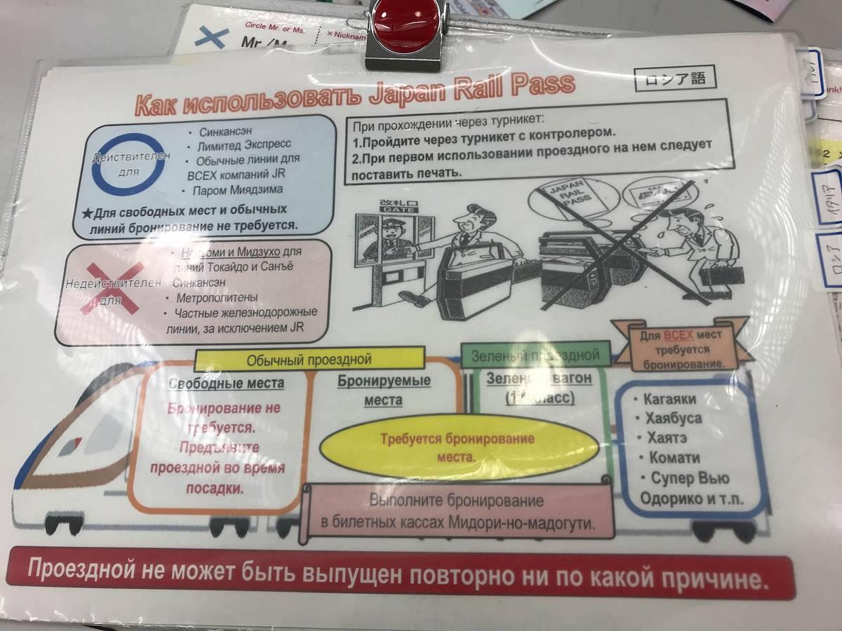 Правила использования проездного «Джей-ар-пасс» на русском. В японском дизайне довольно сложно разобраться, но вот главное, что надо знать: проездной нужно показывать контролеру, его нельзя восстановить и он действует для всех видов транспорта компании «Джапан-рейлвейс»
