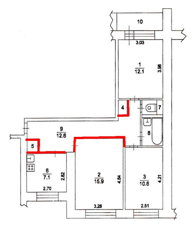 Это планировка квартиры. Я решил избавиться от выделенных красным элементов: перегородок на кухне и в большой комнате, встроенных шкафов и антресоли (на схеме не показана)