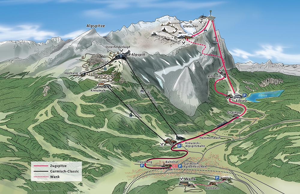 Помимо Цугшпитце можно подняться на гору Гармиш-Классик высотой 2050 м. Билет в одну сторону стоит 17,50€ (1225 рублей). Если позволяет погода и экипировка, спускаться предпочитаю пешком. Карта с официального сайта