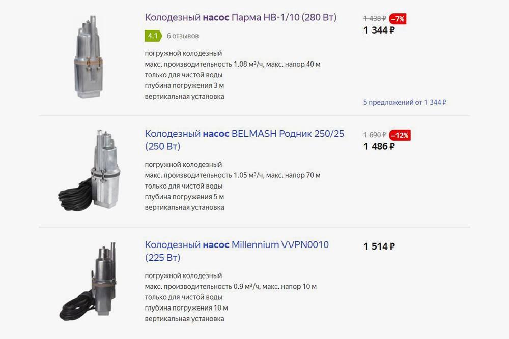 Вибрационные насосы — самый бюджетный вариант. Они чаще всего используются дляполива. Источник: market.yandex.ru