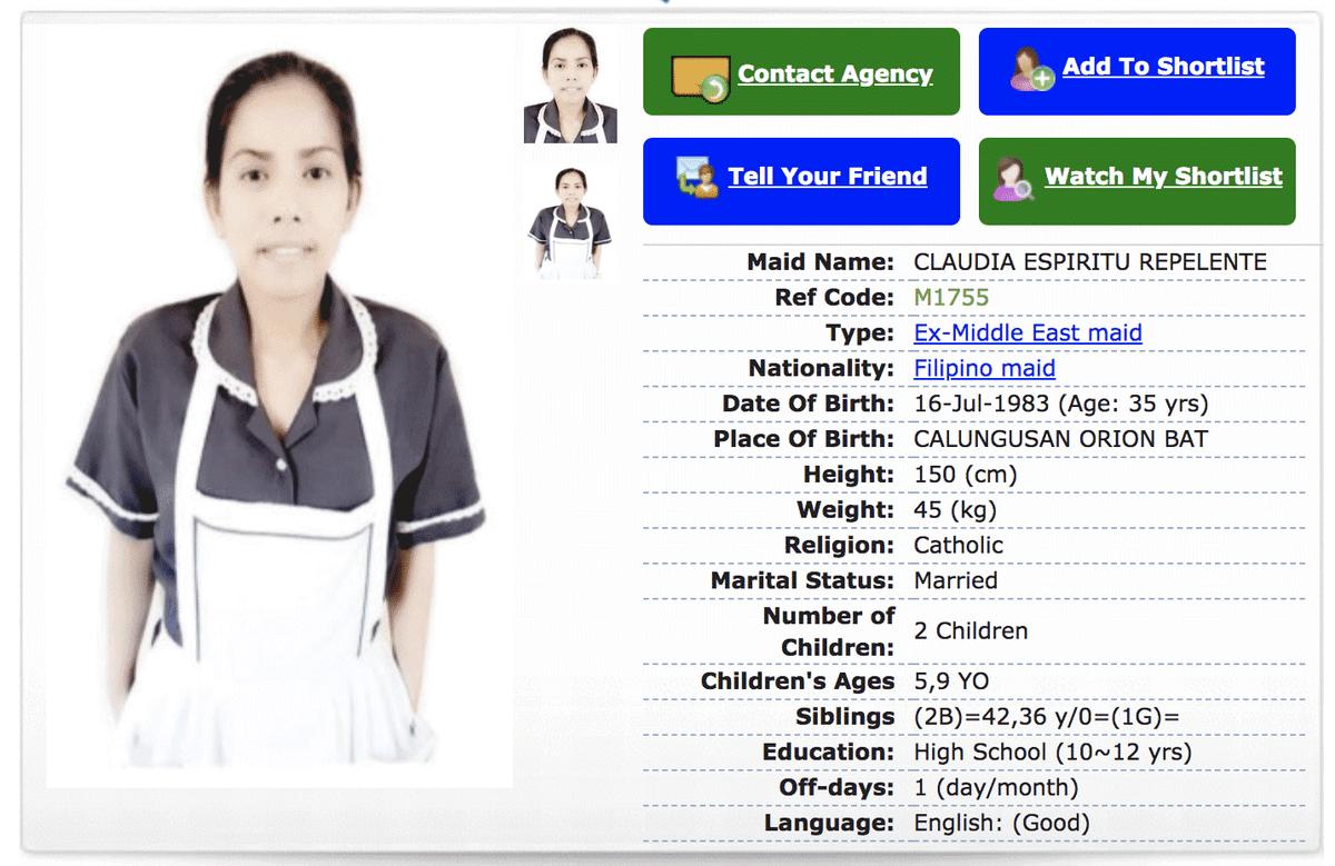 Профиль помощницы. Дома на Филиппинах у нее муж и двое детей