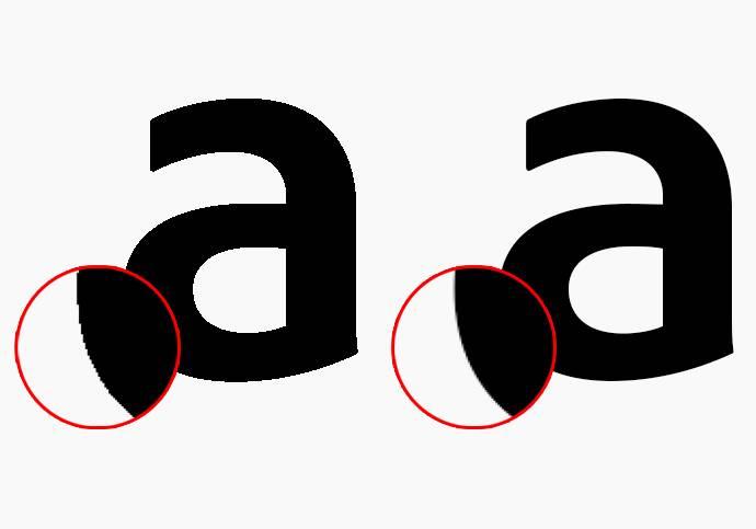 Сглаживание размывает цвета пикселей вокруг «лесенок» так, чтобы замаскировать резкие переходы. Источник:adobe.com