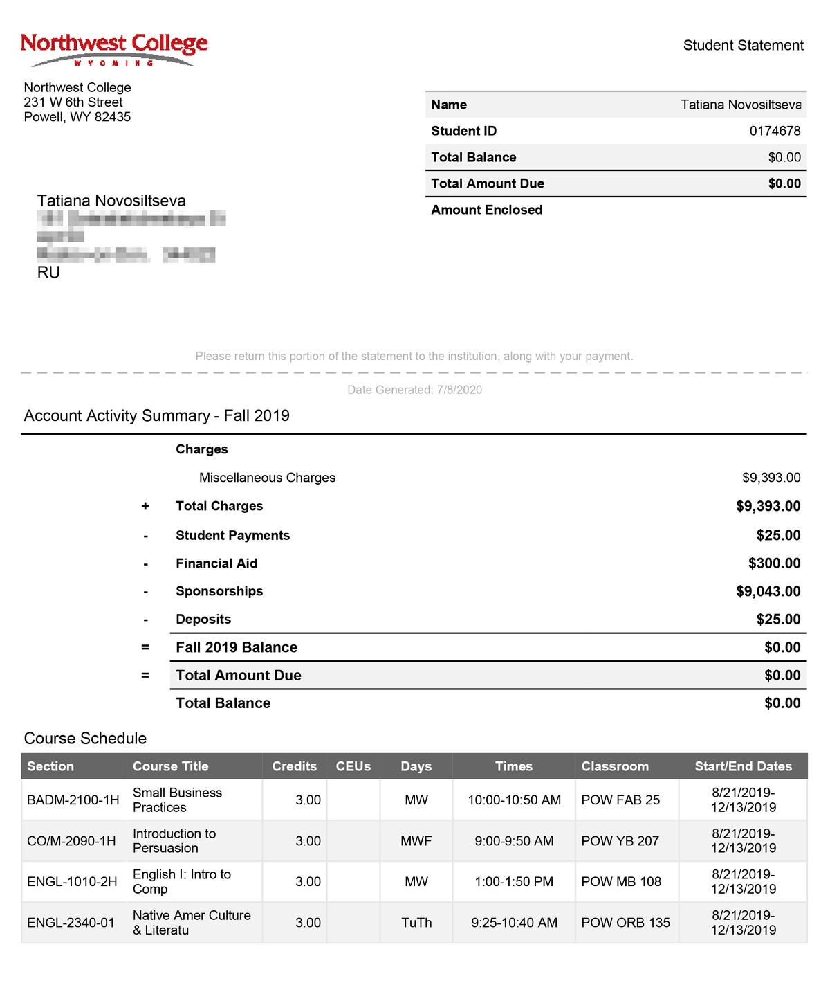 Это&nbsp;траты на&nbsp;мое обучение за&nbsp;один семестр — официальный счет из&nbsp;личного кабинета колледжа. Всю&nbsp;сумму — 9393$ (711 947<span class=ruble>Р</span>) оплачивала программа