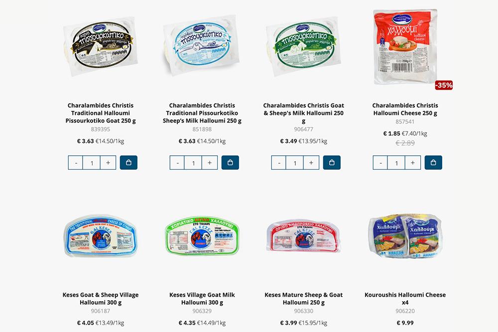 Мы выбрали производителя Keses — всегда берем халуми в бело-голубой упаковке. На скриншоте он в левом нижнем углу. Источник: alphamega.com.cy