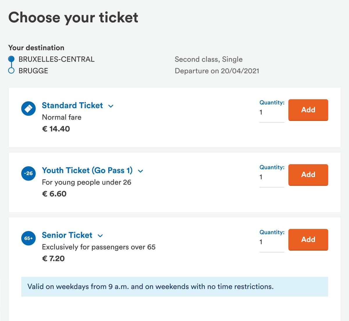 Длядетей, молодежи и пожилых людей билеты на поезда в два — два с половиной раза дешевле. А в выходные они вдвое дешевле абсолютно длявсех. Источник: официальный сайт Belgian train