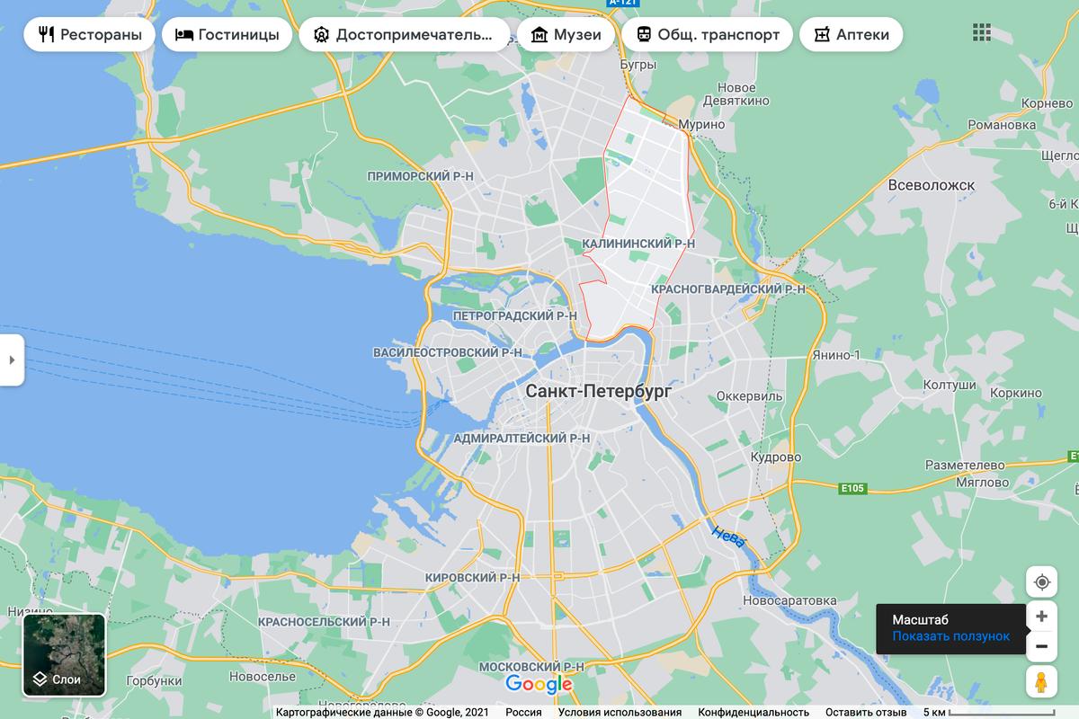 Калининский район находится на севере Петербурга рядом с Выборгским и Красногвардейским