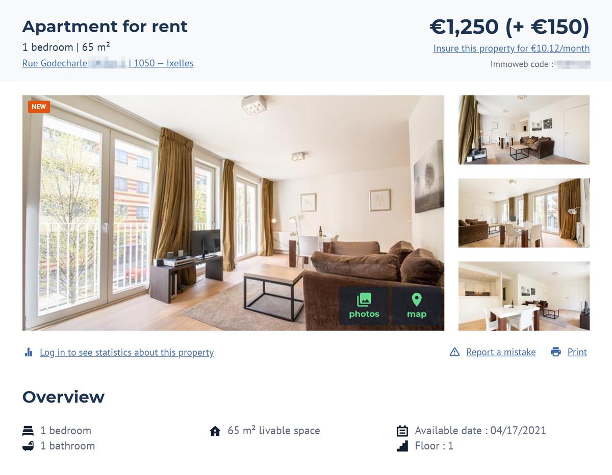 Похожая, но смебелью обойдется в1250€ безучета коммунальных платежей. Источник: Immoweb