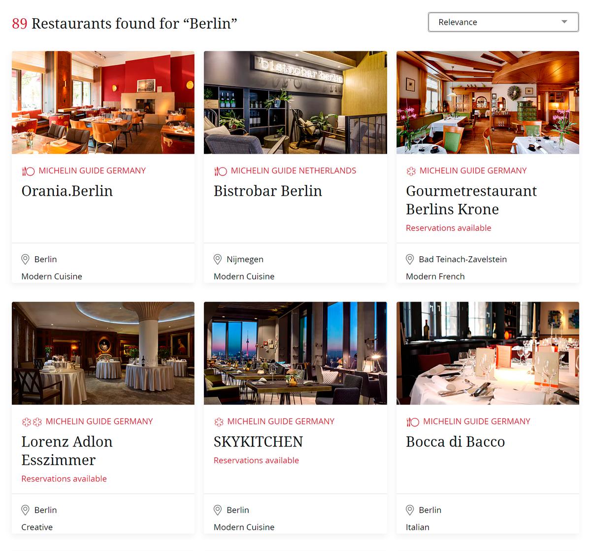 На сайте гида есть поиск по городам. На странице ресторана написано, на чем он специализируется, можно посмотреть даты, на которые можно забронировать стол