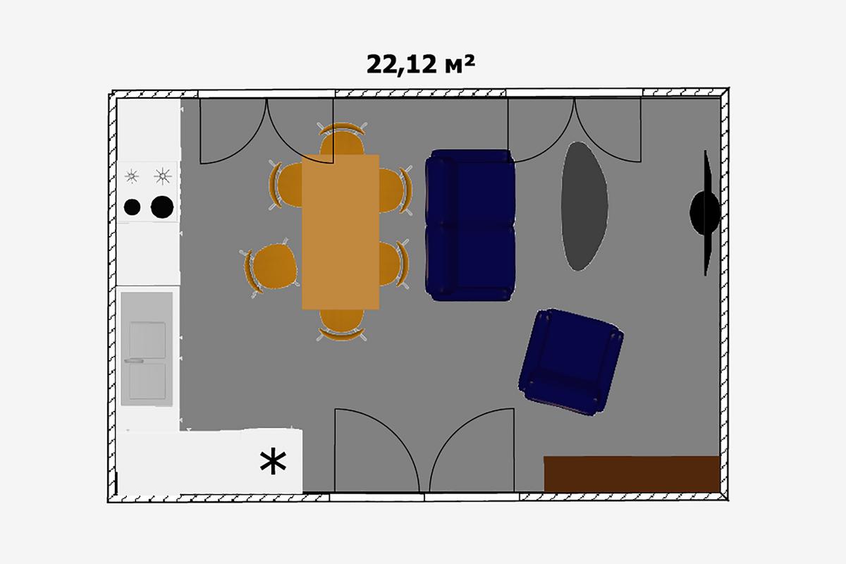 Наплощади 22м²уже можно обустроить полноценную кухню-гостиную