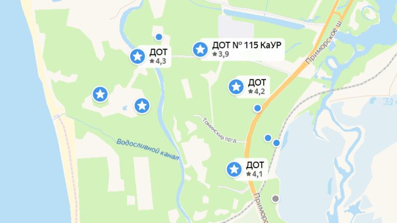 Другие доты на карте Яндекса — у поселка Белоостров и на участке между Ржавой канавой, Финским заливом и железной дорогой. К сожалению, внутрь сейчас не зайти: все закрыто на замки