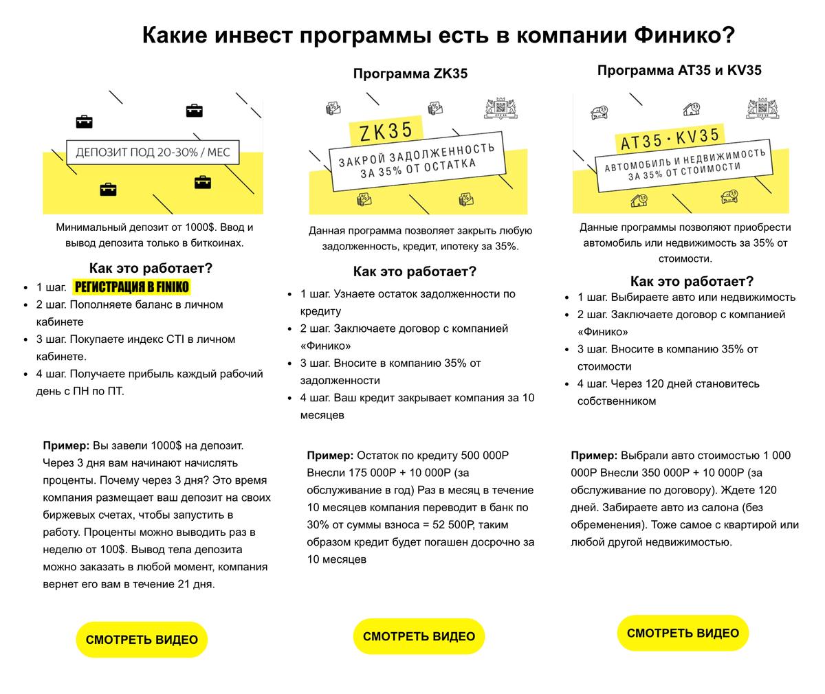 На сайте finiko.life компания описывает свои продукты какинвестиционные программы и пошагово рассказывает об ихработе, новыглядит все этонереалистично