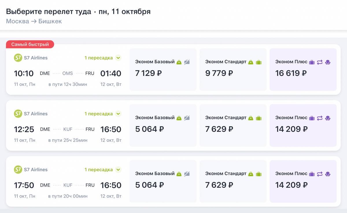 S7 предлагает авиаперелеты из Москвы в Бишкек с пересадкой в Омске, Самаре, Иркутске и других городах. Например, цена на 11 октября в одну сторону стартует от 5064<span class=ruble>Р</span>, багаж не включен. Но придется провести в Самаре 15—20&nbsp;часов. Лететь через Омск дороже — 7129<span class=ruble>Р</span>, но пересадка меньше — 7 часов. Источник: s7.ru