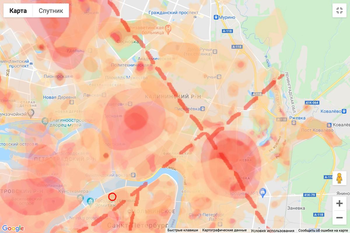 Места, которые загрязнены свинцом, диоксином, бензапиреном, органическими токсинами,а также показаны радон и георазломы. Источник: cottagesspb.ru
