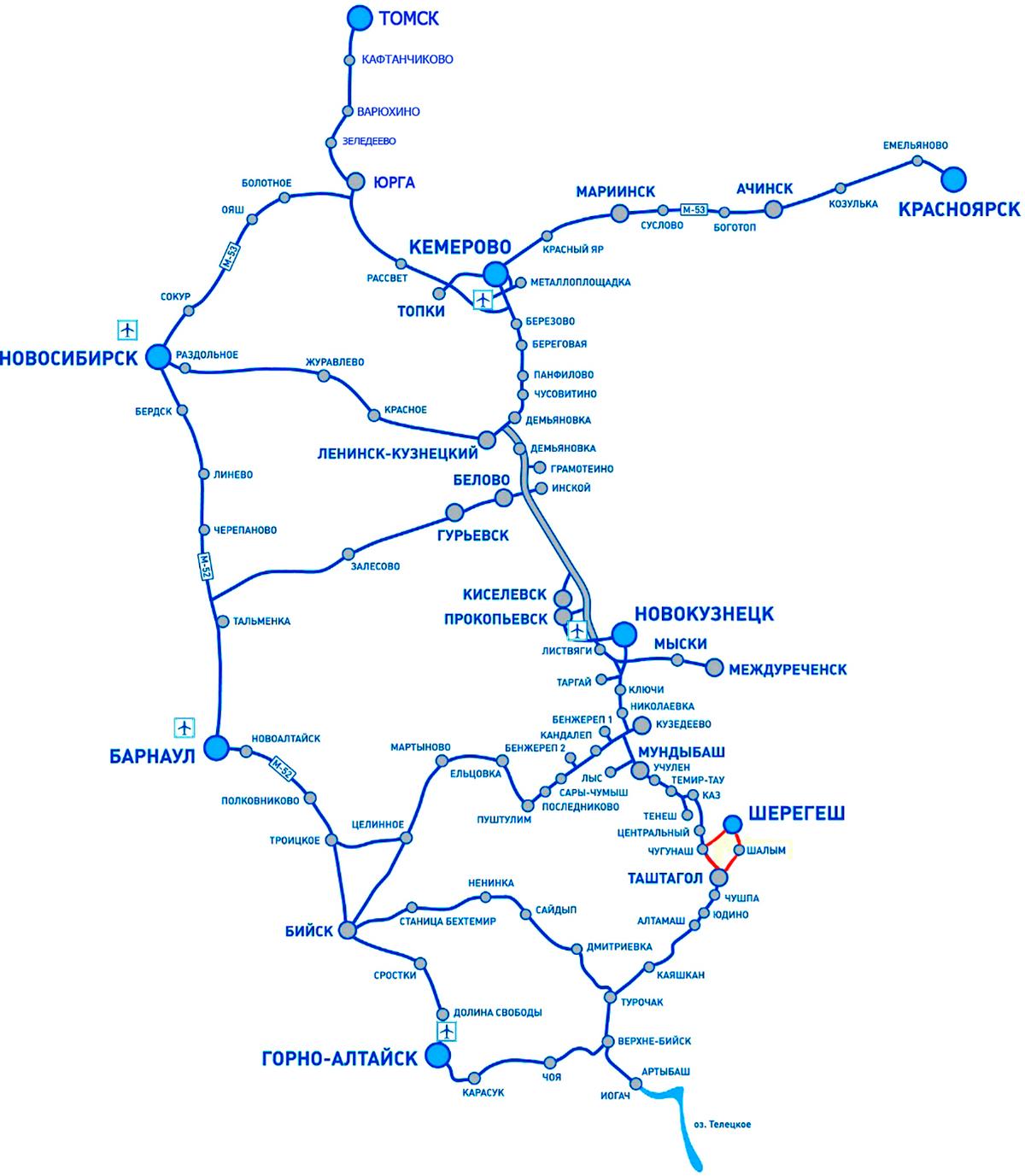 От Шерегеша до Горно-Алтайска — 260 км, до Барнаула — 401 км, до Новокузнецка — 161 км, до Новосибирска — 526 км, до Кемерова — 372 км. Источник: shoria.su