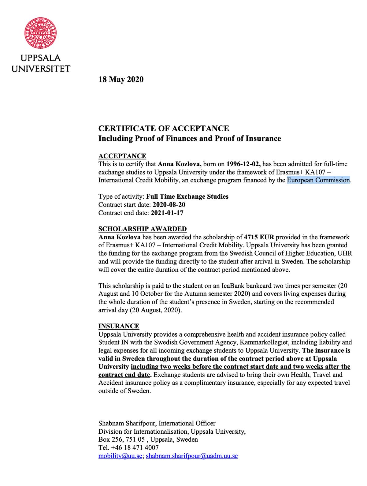 Сертификат, подтверждающий, что меня приняли в Уппсальский университет как студента по обмену