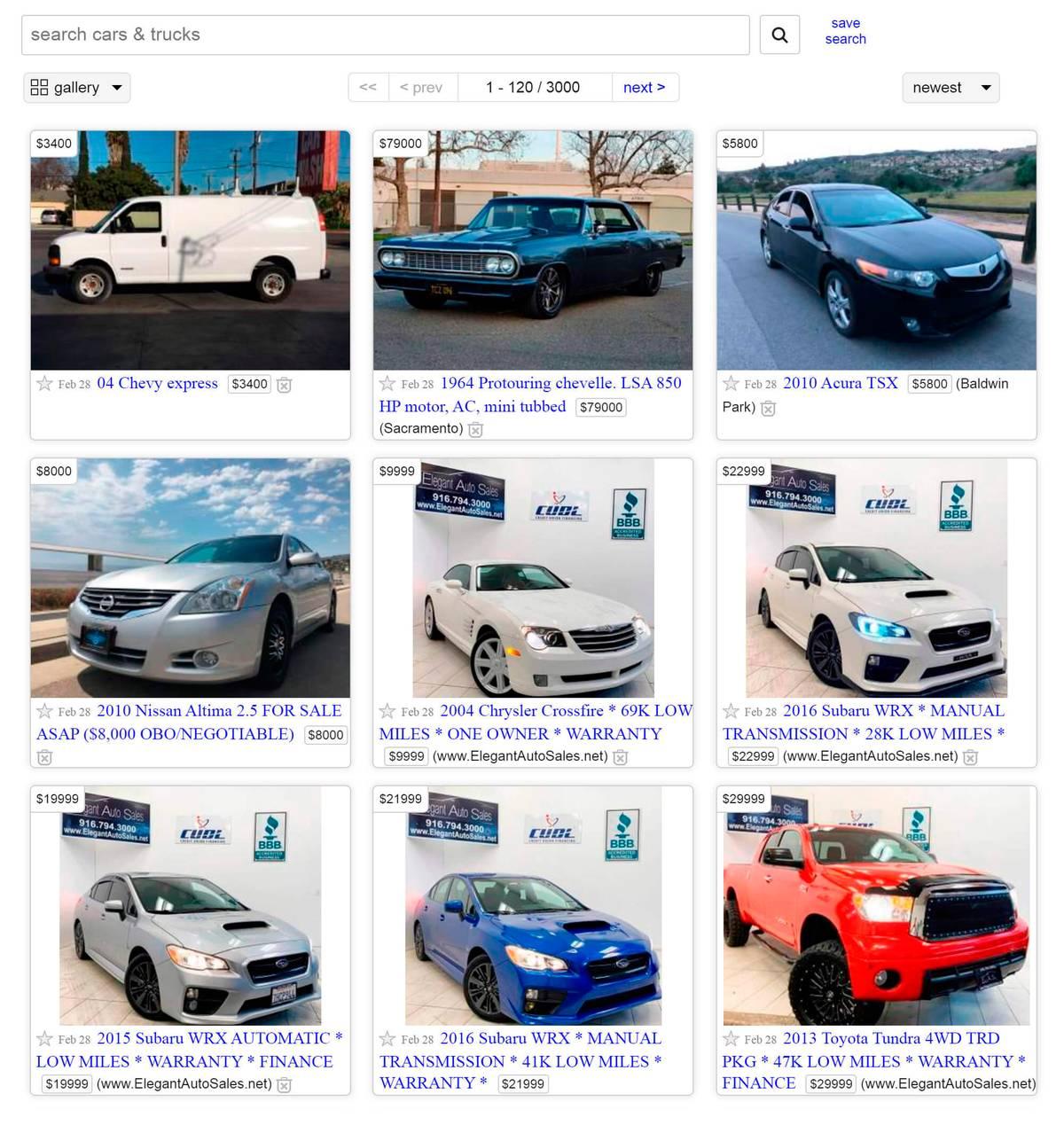 Объявления о продаже машин на «Крейгслисте»