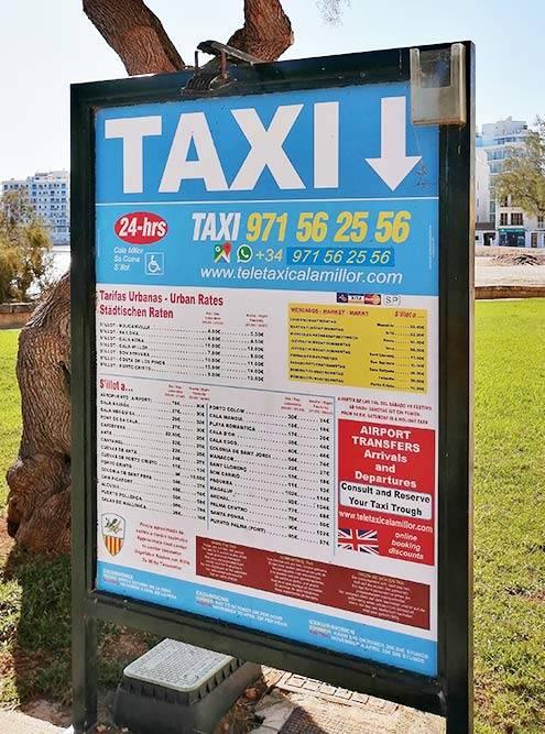 Тарифы такси и телефон для&nbsp;заказа. Указаны примерные цены для&nbsp;популярных направлений: поездка в аэропорт — от 78€ (7310<span class=ruble>Р</span>) примерно за час, в соседний город Порто Кристо — 9€ (843<span class=ruble>Р</span>) минут за семь. Тарифы считают по таксометру, ночью и в праздники дороже. Можно оплатить картой