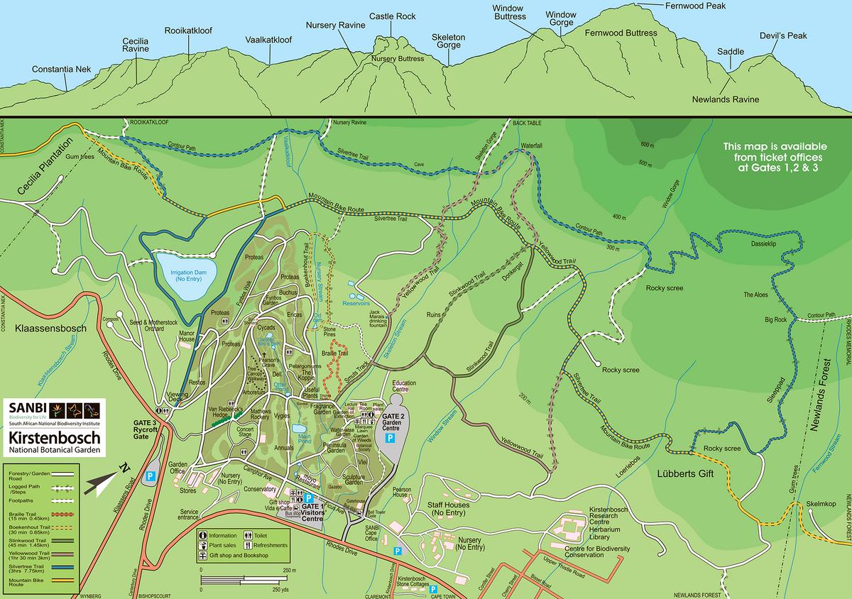 Карта ботанического сада Кирстенбош. Источник: sanbi.org