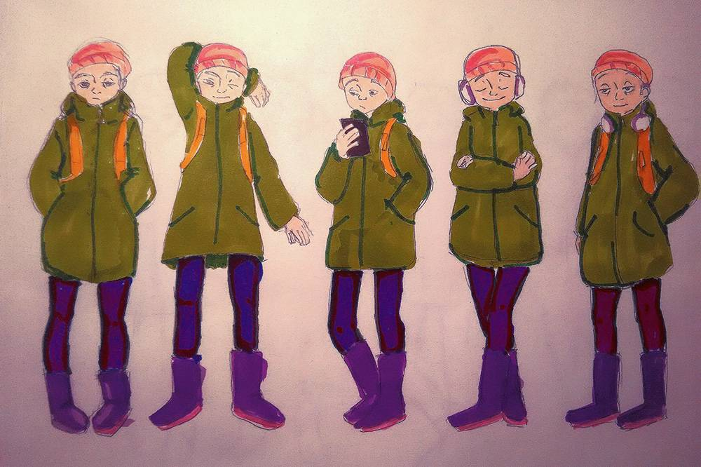 Готовое домашнее задание к лекции «Актерское мастерство»: нужно было изобразить пять стоящих людей в спокойных позах, но так, чтобы они друг от друга отличались