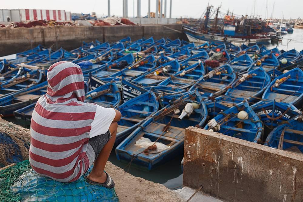 Все рыбацкие лодки в Эссуэйре — синего цвета