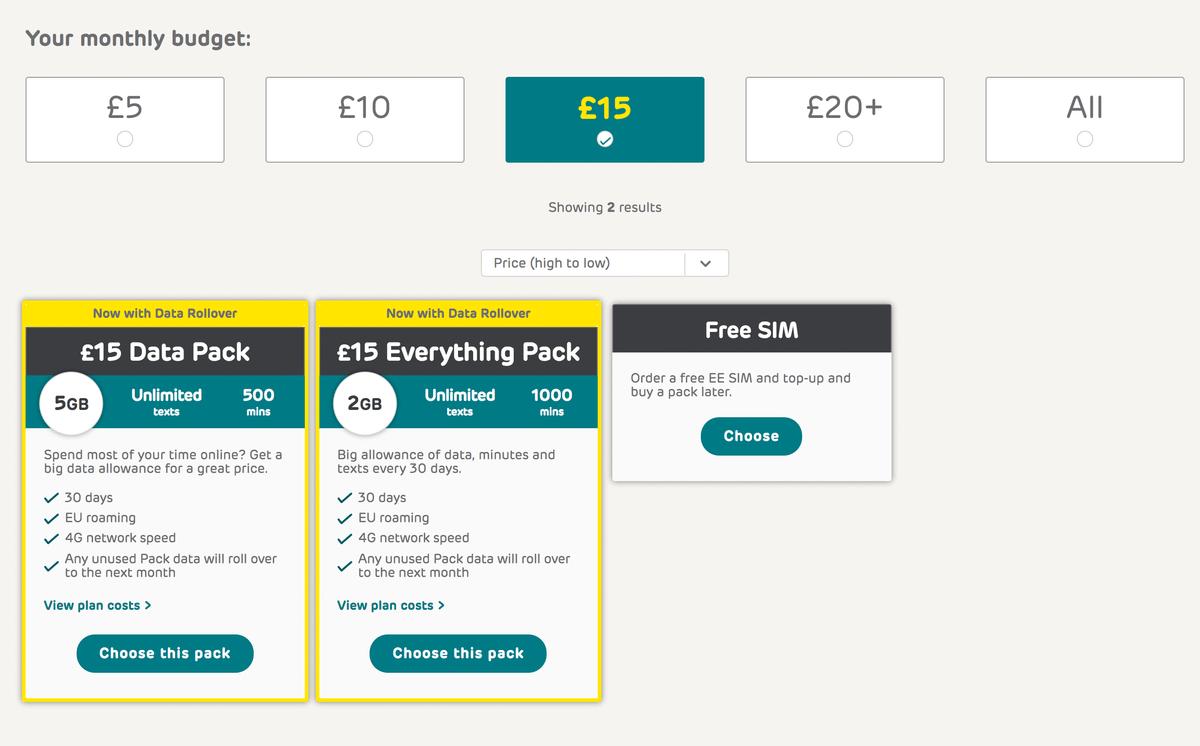 Предоплаченные тарифные планы за 15£ оператора «ЕЕ». Все тарифы на сайте Shop.ee.co.uk