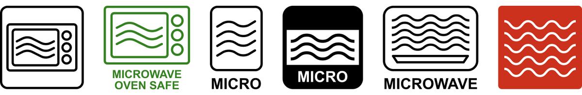 Эти значки и надписи Microwave, MICRO говорят о том, что тара годится дляразогревания еды в микроволновке