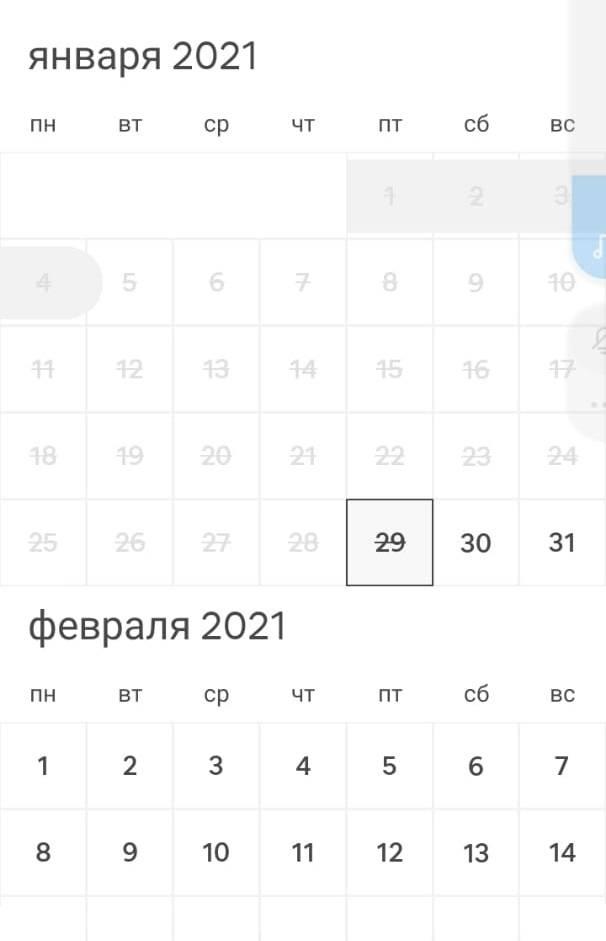 Календарь совершенно стандартный, как инамногих других сайтах. Серым помечены забронированные даты, белым — свободные, вычеркнутыте, что уже прошли