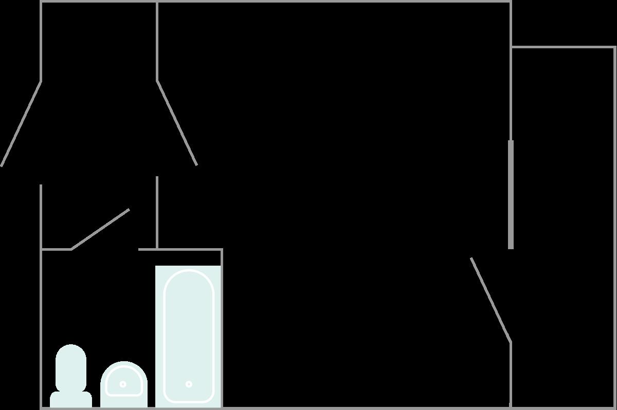 Типичная планировка квартиры впансионате. Кухню обустраивают либо налоджии, либо вприхожей