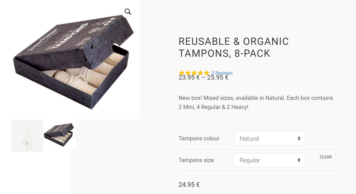 Многоразовые тампоны в коробочке. Можно выбрать размер и цвет — например, «сангрию» или «деним»