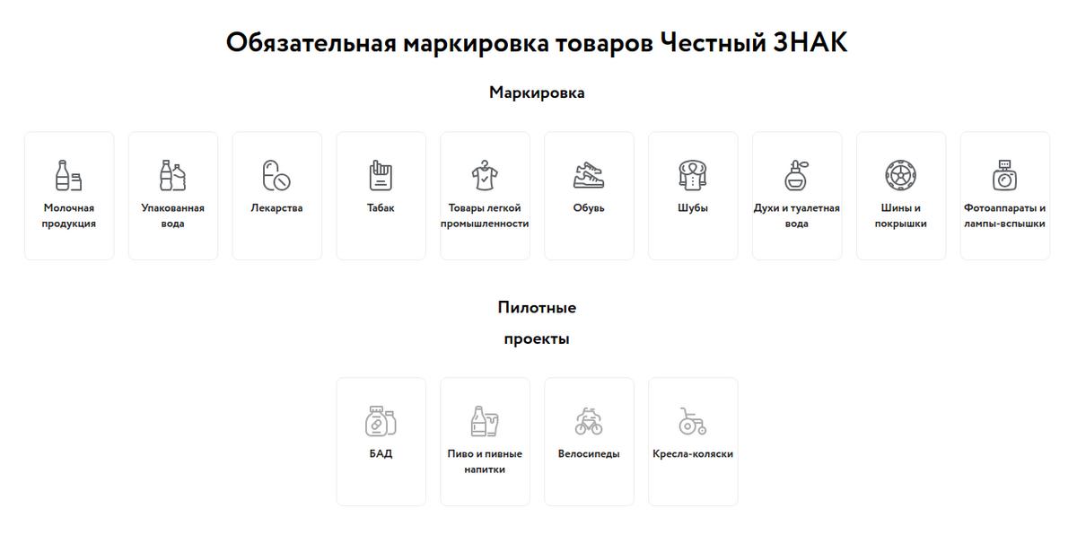 Сейчас в России обязательны к маркировке 20 категорий товаров, маркировку еще четырех пока тестируют. К 2024году планируют маркировать все категории