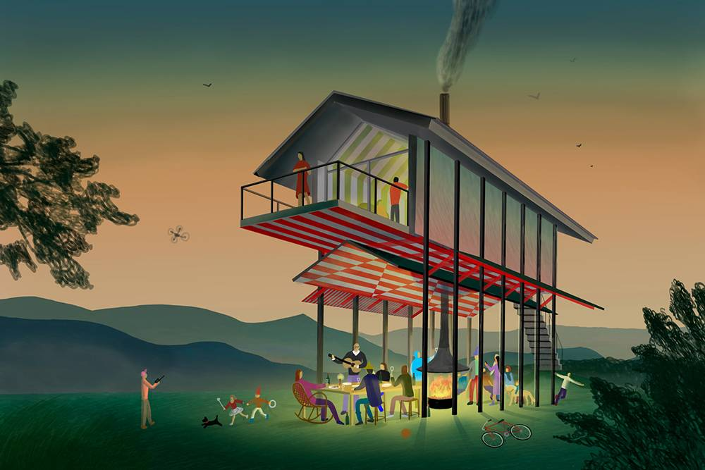 У нас есть планы построить такой домик на ножках — его проект сделали ребята из бюро Kosmos Architects — за акции и «вечные дни». Пока мы отложили строительство, таккак один такой дом стоит как 15 хижин