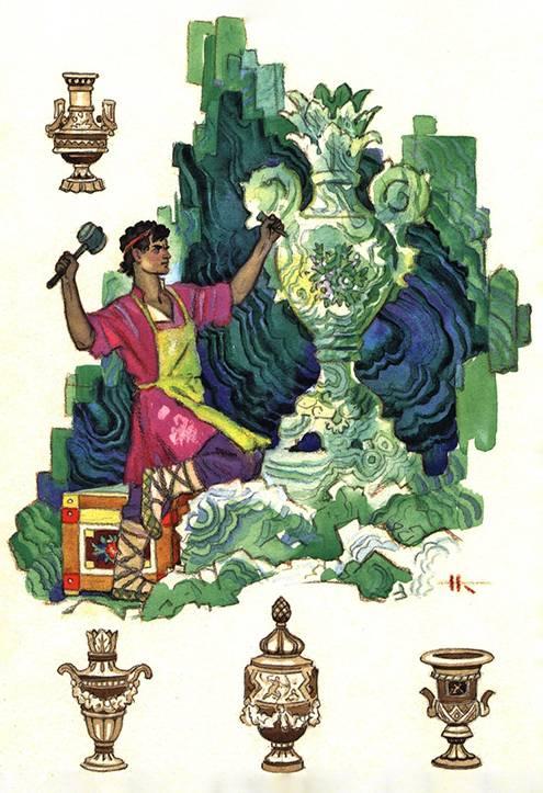 Вот такую карточку из набора «Сказы П.Бажова» отправлю француженке, которая любит сказки разных народов и рассматривает открытки с внучкой