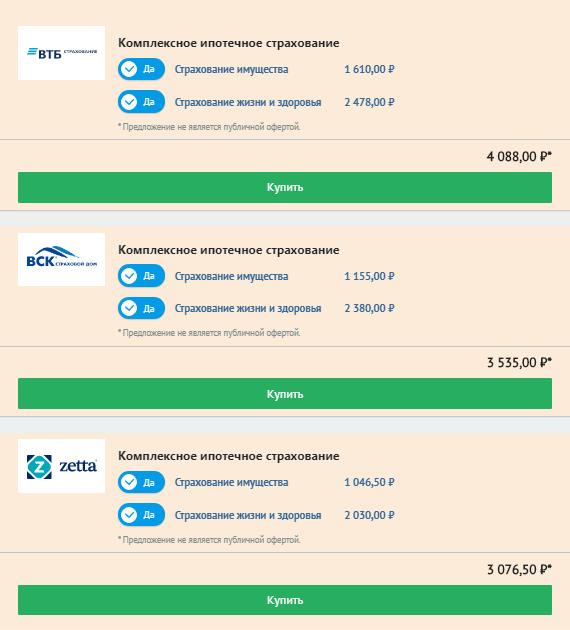 Расчет комплексного ипотечного страхования для&nbsp;кредита в размере 700 000<span class=ruble>Р</span>&nbsp;на сайте «Банки-ру»