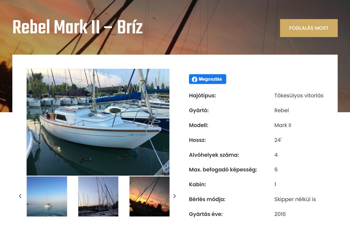 Сайт, накотором мы бронировали яхту, полностью навенгерском языке, но с«Гугл-переводчиком» все становится понятно