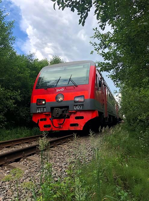 На этом участке железной дороги на границе Ленинградской и Новгородской областей ходит пять электричек в день. В конце пути пришлось спуститься с насыпи и уступить дорогу электричке