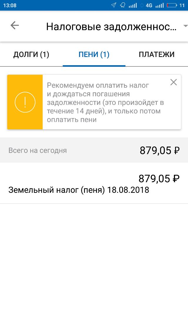 В августе 2018 года, когда я разбиралась с налоговой, пеня выросла до 879,05<span class=ruble>Р</span>
