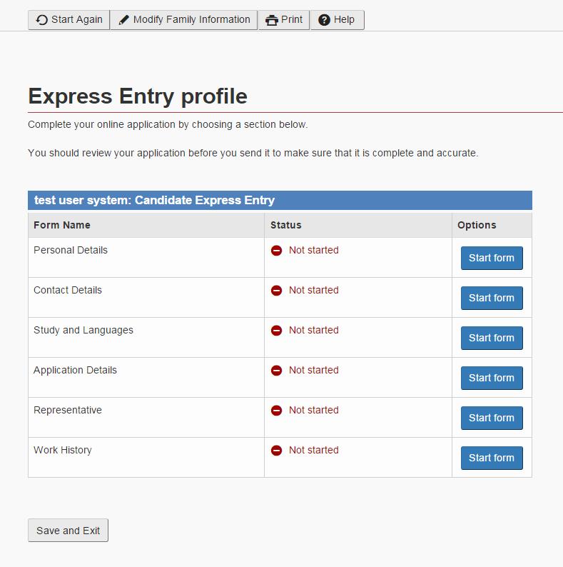 Так выглядит анкета при регистрации в Express Entry: скриншот с сайта dhaval.ca