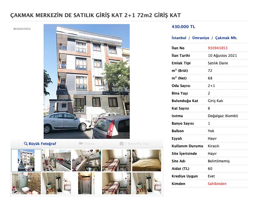 Двухкомнатная квартира продается за 430 000&nbsp;TRY (3 625 154<span class=ruble>Р</span>)