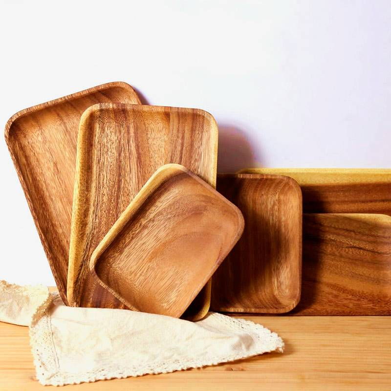 Тарелки и подносы из акации, от 390 рублей за штуку, ехать будут 23 дня, искать по запросам acacia wood plate или acacia wood tray