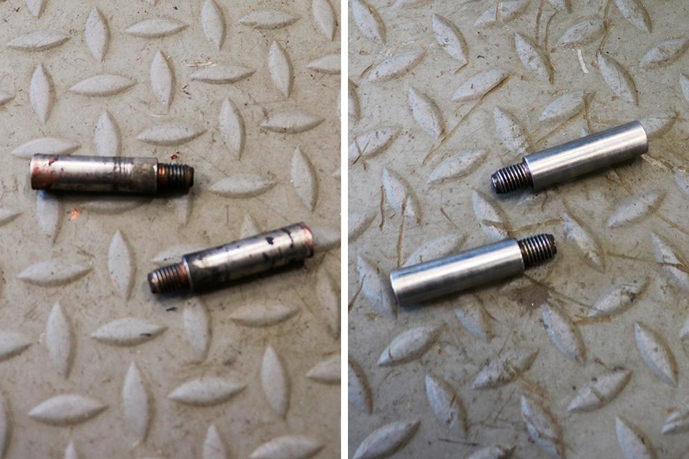 Направляющие суппорта: слева— те, что только что сняли ссуппорта, справа— они же, ноуже чистые