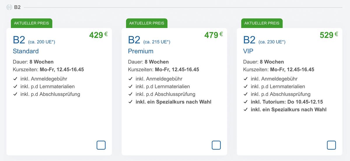 Цены в языковой школе Perfekt Deutsch на восьминедельный курс по изучению немецкого